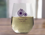 Personalized 17 oz Stemless Wine Glass Wedding Favor, Custom Designs For Party and Promotion cheap favors