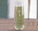 Engraved 8 oz Stemless Champagne Glass Party Favor, Customized for Special Occasion cheap favors