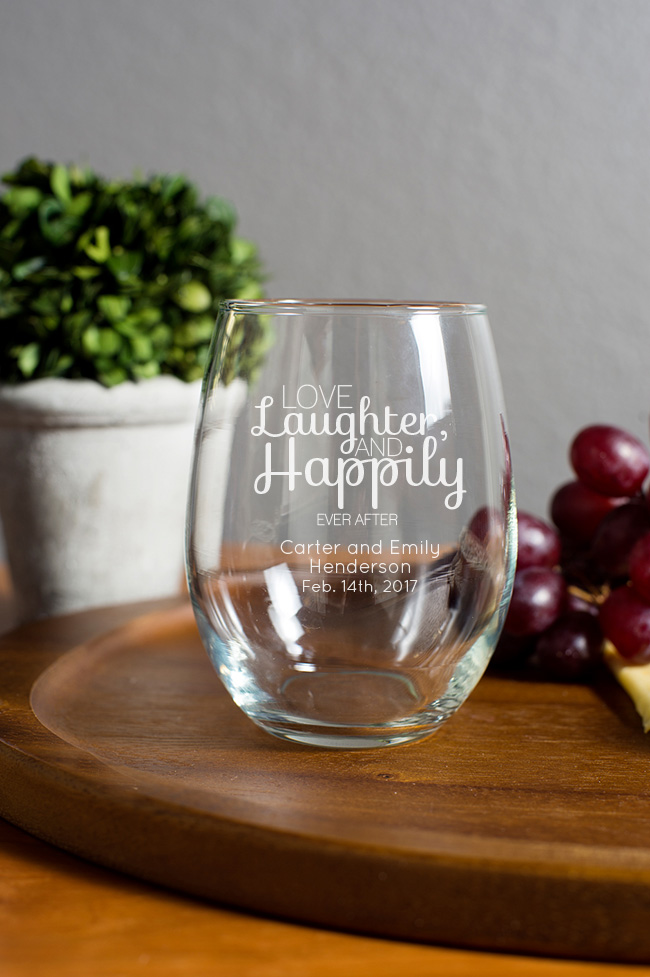 Engraved 15 oz stemless wine glass for Etched glass wedding gifts