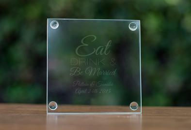 Engraved Glass Coasters wedding favors