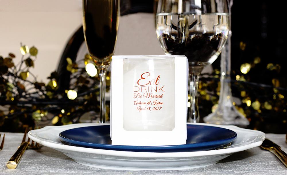 Personalized 9 Oz Stemless Wine Glass Wedding Favor