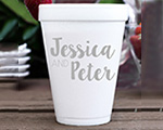 Personalized foam cup 12 oz- Couples Name cheap favors
