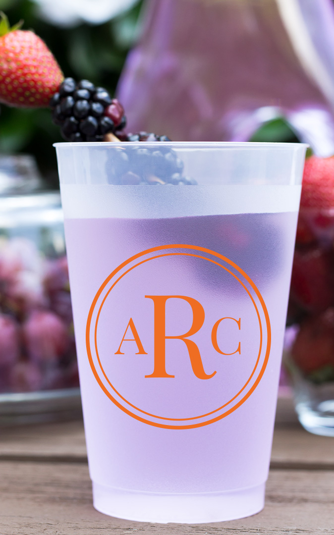 Personalized Frosted Cups 16 oz- Circle Monogram cheap favors