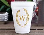 Personalized foam cup 12 oz- Leaf Monogram cheap favors