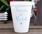 Personalized foam cup 12 oz- First Name Heart cheap favors