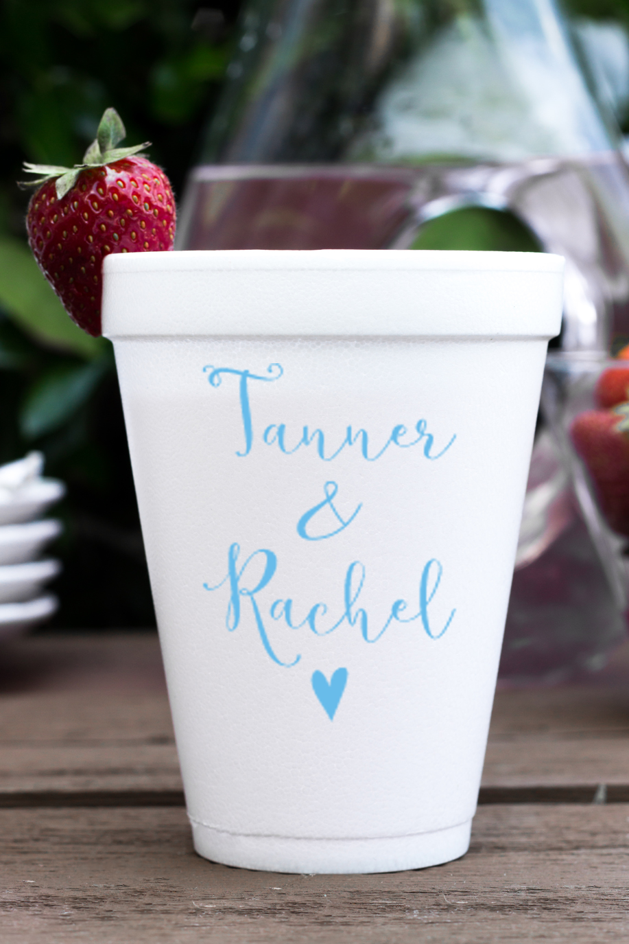 Personalized foam cup 12 oz- First Name Heart wedding favors