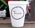 Personalized foam cup 12 oz- Leaf Last Name cheap favors