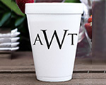 Personalized foam cup 12 oz- Triple Monogram cheap favors