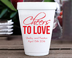 Personalized foam cup 12 oz- Cheers to Love cheap favors