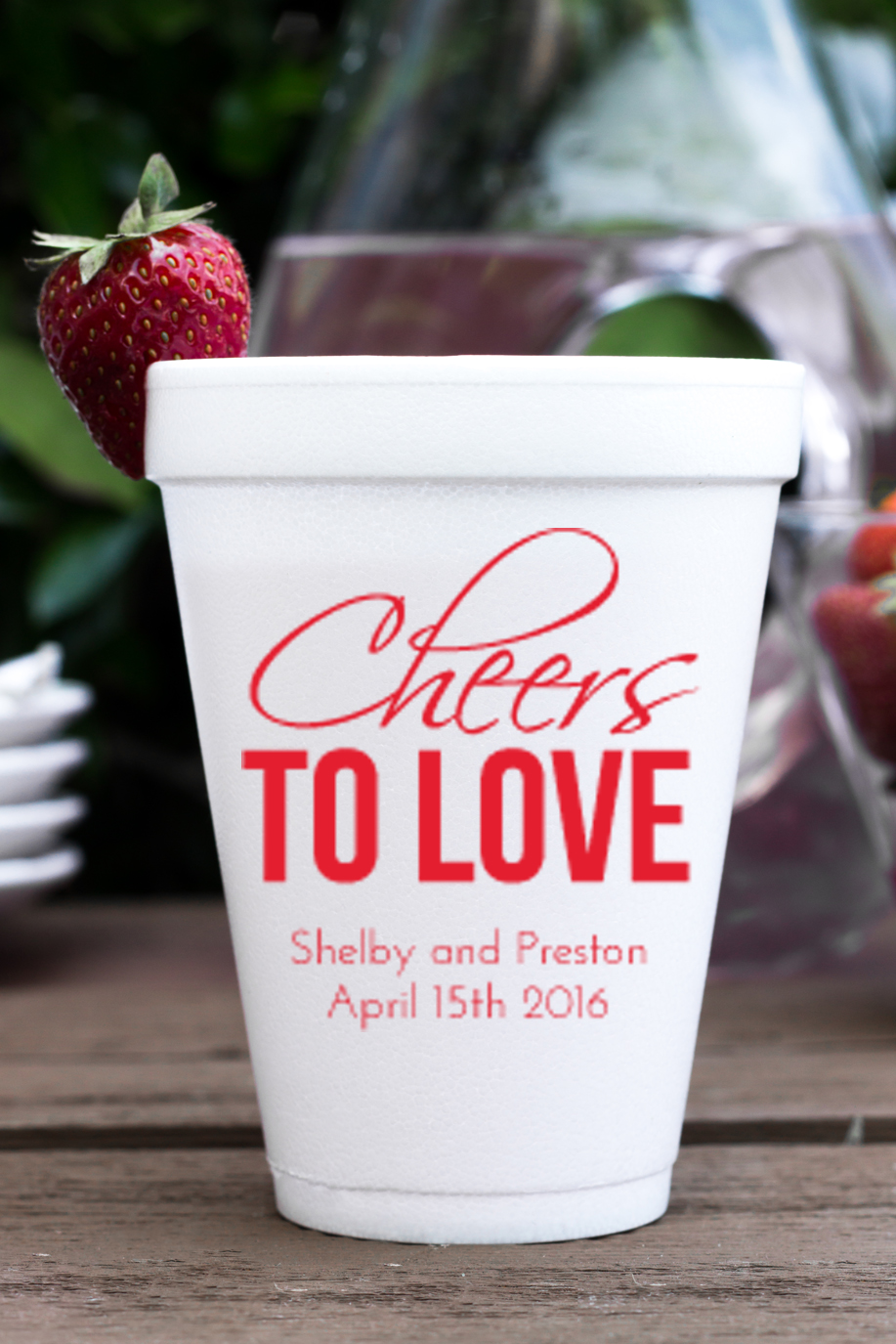 Personalized foam cup 12 oz- Cheers to Love wedding favors