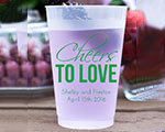 Personalized Frosted Cups 12 oz- Cheers to Love cheap favors