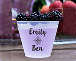 Personalized Frosted Cups 16 oz- Names and Leaf Banner cheap favors
