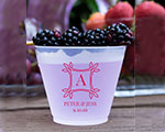 Personalized Frosted Cups 16 oz- Fancy Square Monogram cheap favors