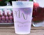 Personalized Frosted Cups 12 oz- Triple Monogram Flourish cheap favors