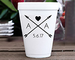 Personalized foam cup 12 oz- Arrow Heart cheap favors