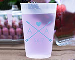 Personalized Frosted Cups 16 oz- Arrow Heart cheap favors