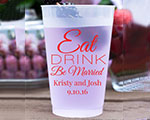 Personalized Frosted Cups 16 oz- Eat Drink Be Married cheap favors