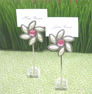 """Love Blooms"" Flower Place Card Holders wedding favors"