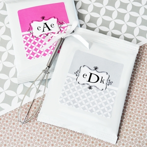 Mod Monogram Personalized Hot Cocoa + Optional Heart Whisk  wedding favors