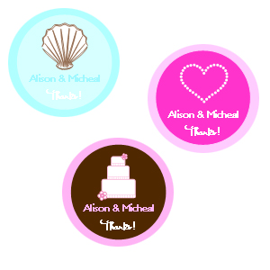 "1.25"" Wedding Theme Labels cheap favors"