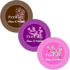 Cherry Blossom Round Labels wedding favors