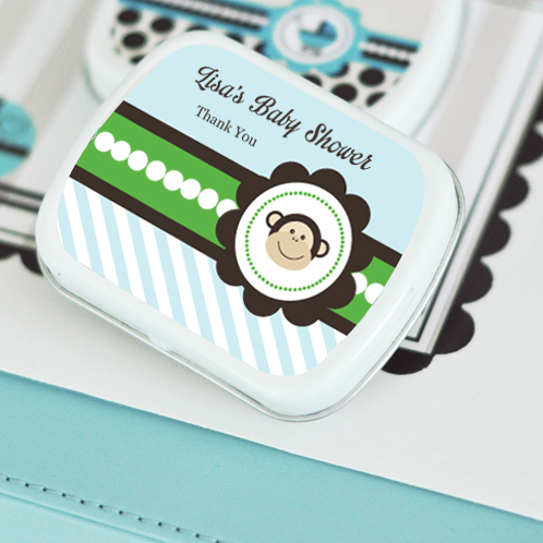 Blue Monkey Party Personalized Mint Tins  wedding favors