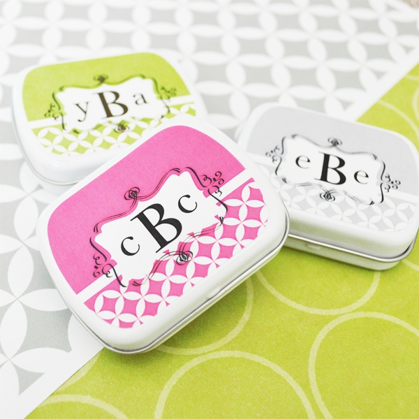 Mod Monogram Mint Tins  wedding favors