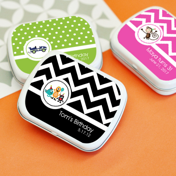 Personalized MOD Kid's Birthday Mint Tins wedding favors