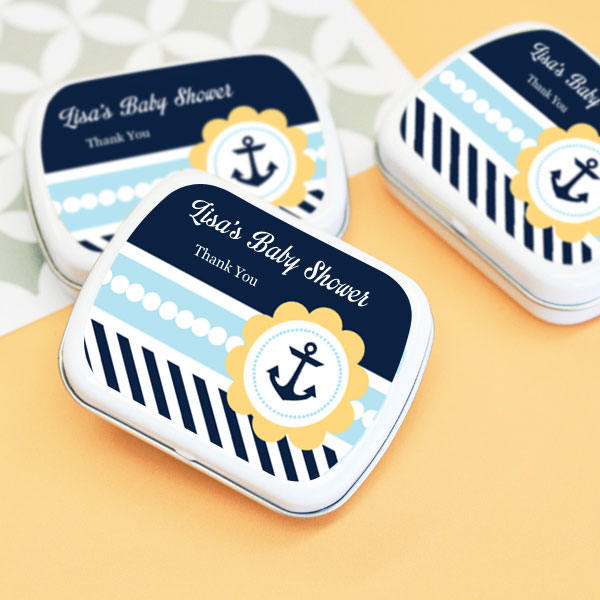 Nautical Baby Shower Personalized Mint Tins wedding favors