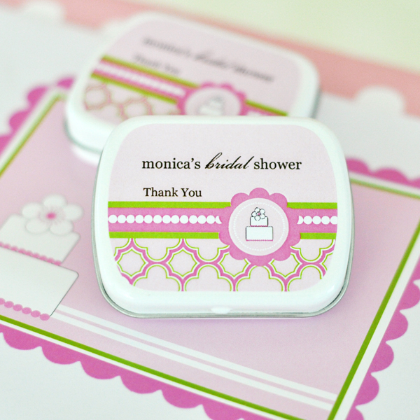 Personalized Mint Tins - Pink Cake wedding favors