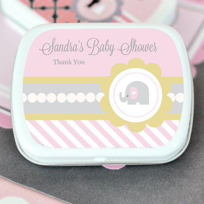 Pink Elephant Personalized Mint Tins wedding favors