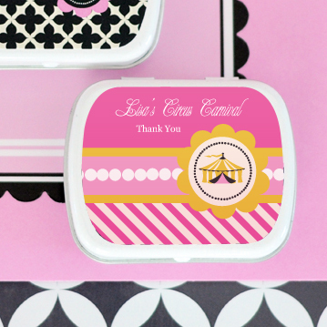 Pink Circus Party Personalized Mint Tins  wedding favors