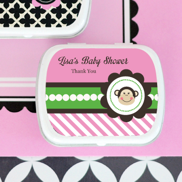 Pink Monkey Party Personalized Mint Tins  wedding favors