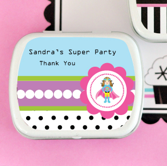 Super Hero Girl Birthday Personalized Mint Tins  wedding favors