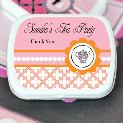 Tea Party Personalized Mint Tins  wedding favors