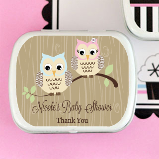 Woodland Owl Personalized Mint Tins wedding favors