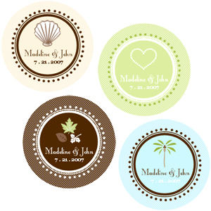 Round Theme Labels cheap favors