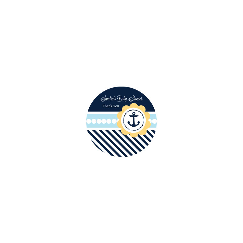 Nautical Baby Shower Personalized Round Labels wedding favors
