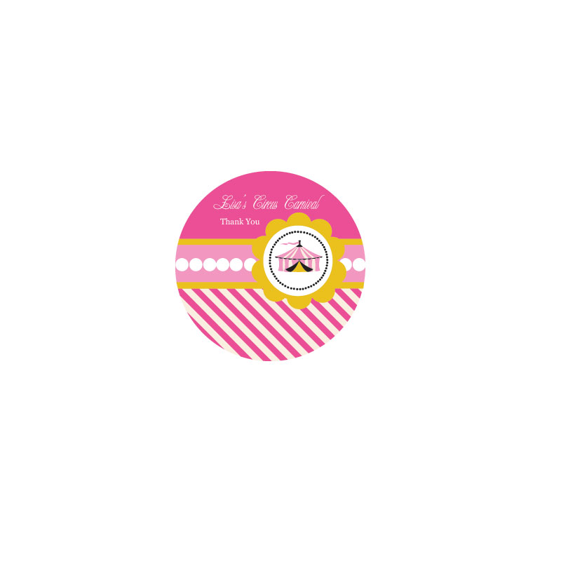 Pink Circus Party Personalized Round Labels wedding favors