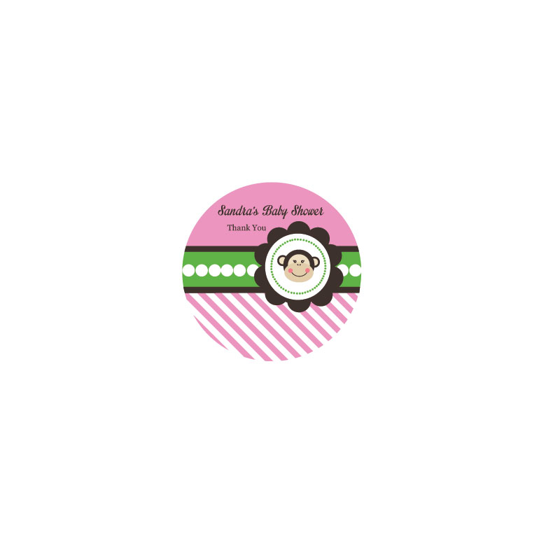 Pink Monkey Party Personalized Round Labels wedding favors