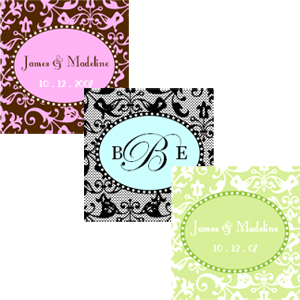 Square Damask Labels & Tags wedding favors