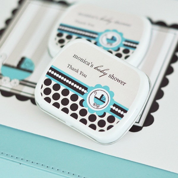Personalized Mint Tins - Blue Baby wedding favors