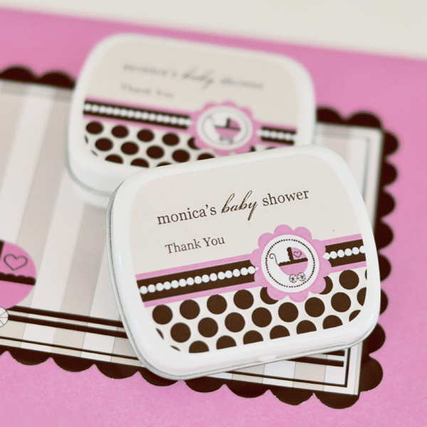 Personalized Mint Tins - Pink Baby wedding favors
