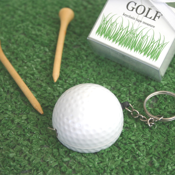 """A Leisurely Game of Love"" Golf Ball Tape Measure wedding favors"