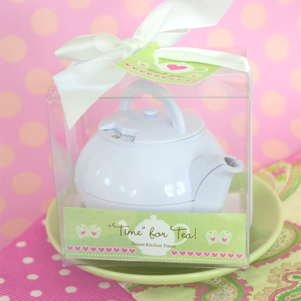 """Time for Tea"" Teapot Timer wedding favors"