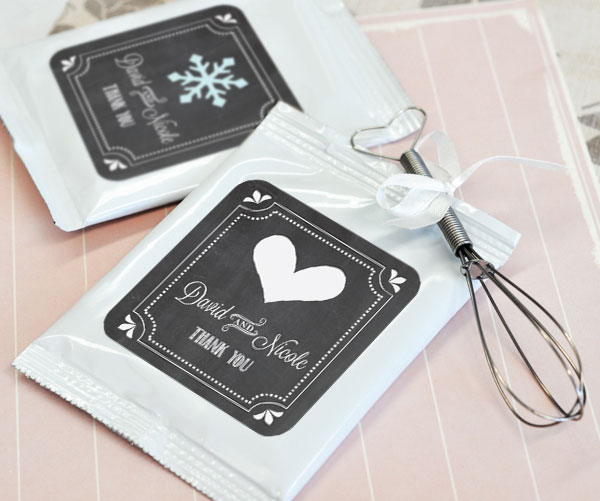 Chalkboard Wedding Personalized Hot Cocoa + Optional Heart Whisk wedding favors
