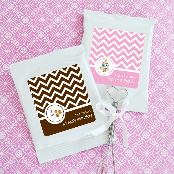 Personalized MOD Kid's Birthday Hot Cocoa + Optional Heart Whisk wedding favors