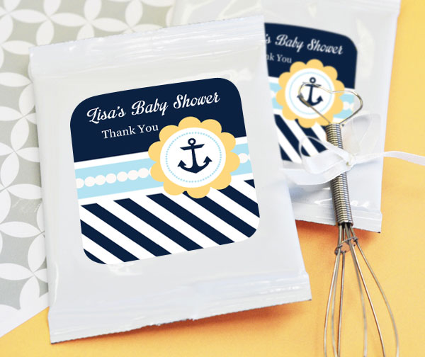 Nautical Baby Shower Personalized Hot Cocoa + Optional Heart Whisk wedding favors