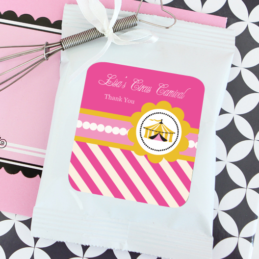 Pink Circus Party Personalized Lemonade + Optional Heart Whisk  wedding favors