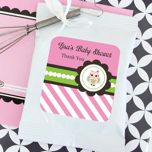 Pink Owl Personalized Lemonade + Optional Heart Whisk wedding favors